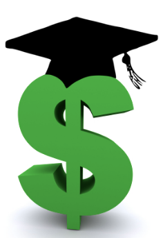 Graphic of dollar sign and graduation cap