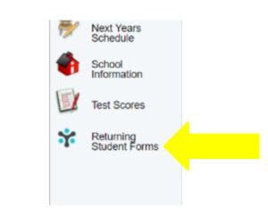 Arrow Pointing to Returning Student Form