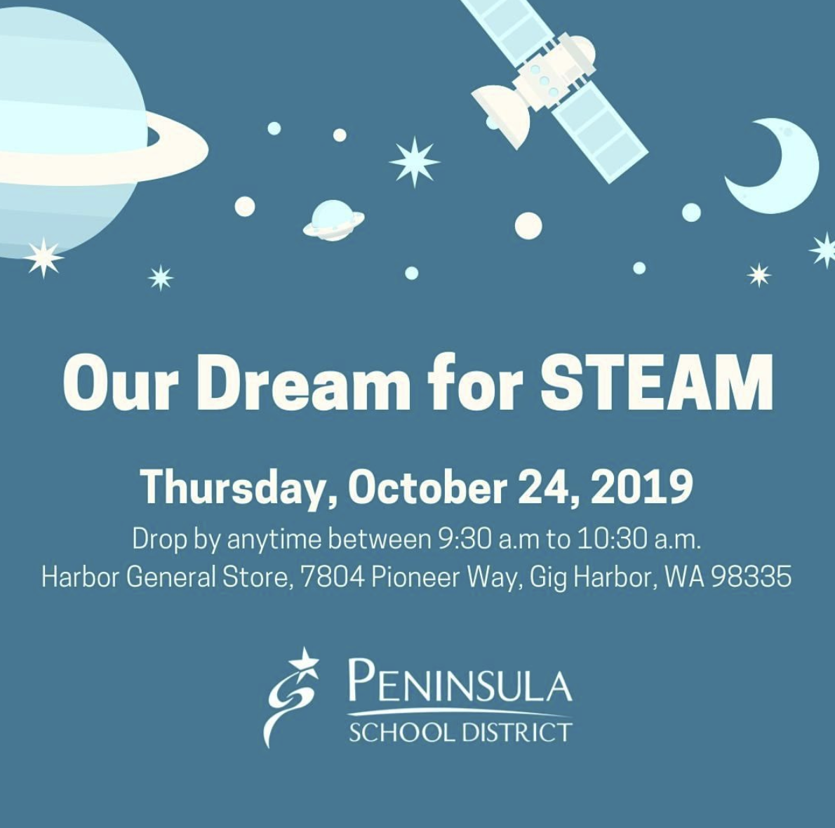 Pioneer Principal, Stephanie Strader, wants to hear your ideas for the new magnet school that will have a special focus on STEAM when it opens in the fall of 2020. Thursday, October 24, 2019 Drop by any time between 9:30 a.m. to 10:30 a.m. Harbor General Store, 7804 Pioneer Way, Gig Harbor