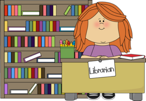 Librarian at desk