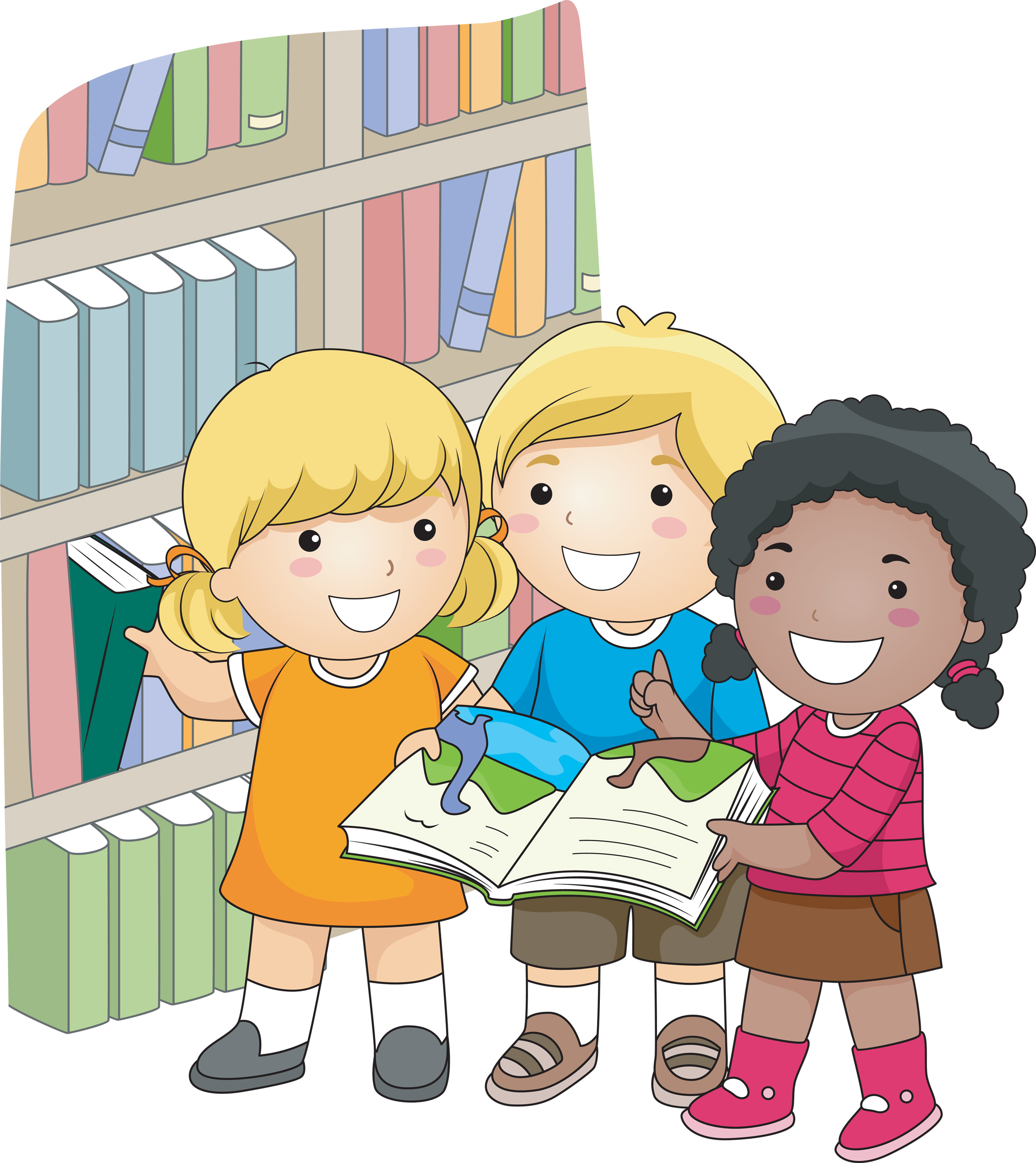 Kids at library clipart