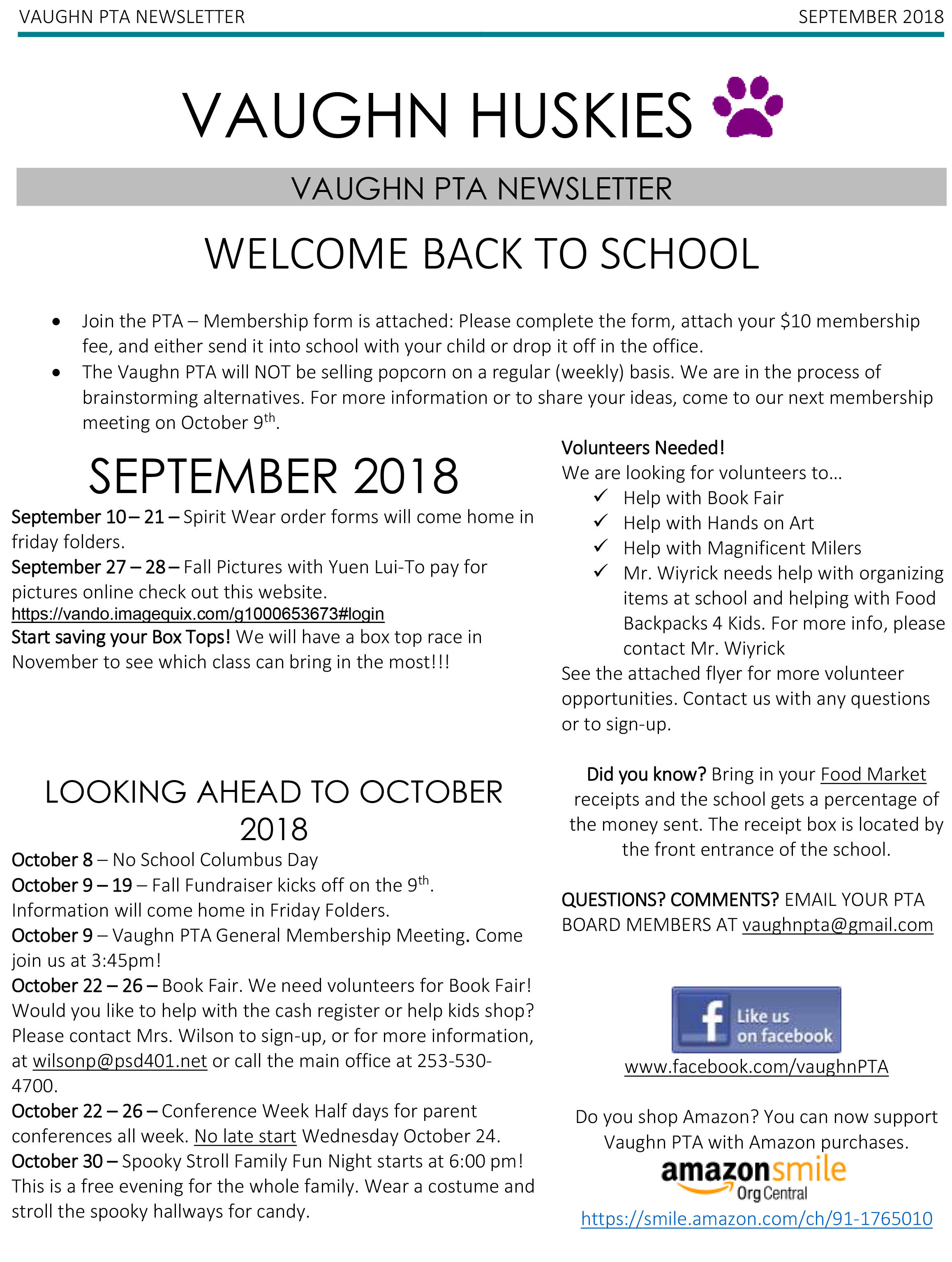 Vaughn PTA Sept Newsletter
