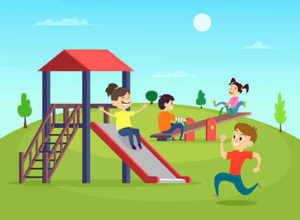 Kids playing at park clipart