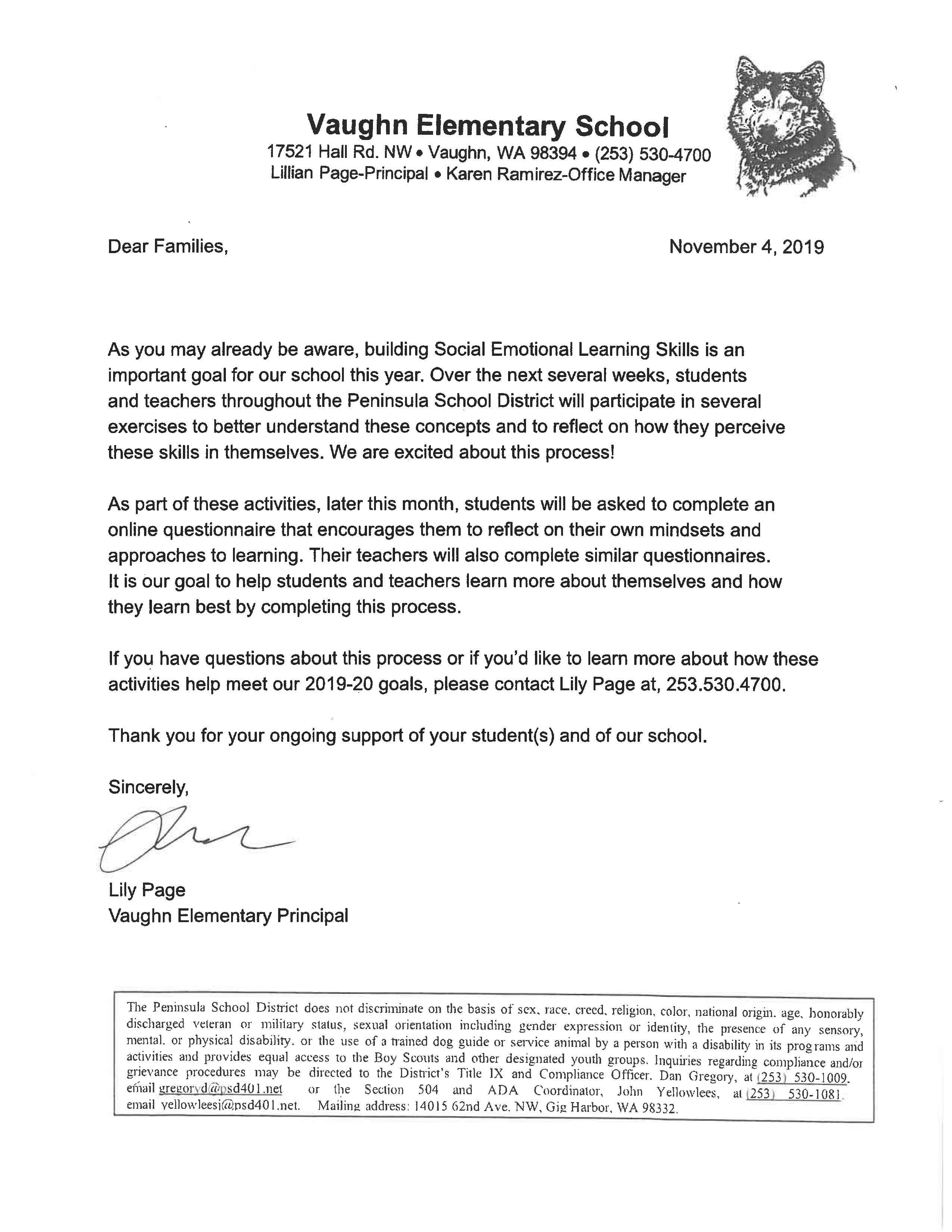 Survey Letter From Mrs. Page