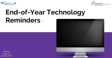 "Picture of a computer monitor and the words ""End-of-Year Technology Reminders"""