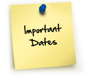 Sticky note that says Important Dates